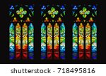 vector gothic stained glass... | Shutterstock .eps vector #718495816