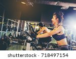 group of people in the gym... | Shutterstock . vector #718497154