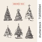 set of hand drawn christmas... | Shutterstock .eps vector #718500064