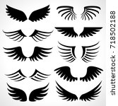 wings icons set isolated on... | Shutterstock .eps vector #718502188