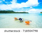 transparent canoe kayak in... | Shutterstock . vector #718504798