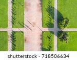 summer park with green lawns...   Shutterstock . vector #718506634