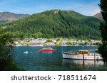 queenstown lakefront city... | Shutterstock . vector #718511674