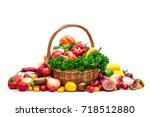 fresh organic vegetables in... | Shutterstock . vector #718512880