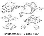 oriental cloud ornament design... | Shutterstock .eps vector #718514164