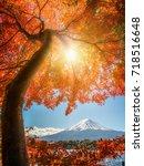 colorful autumn in mount fuji ... | Shutterstock . vector #718516648