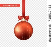 xmas balls red color. christmas ... | Shutterstock .eps vector #718517488