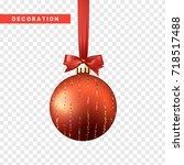 xmas balls red color. christmas ... | Shutterstock .eps vector #718517488