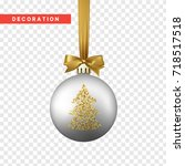 xmas balls silver and gold... | Shutterstock .eps vector #718517518