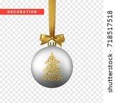 xmas balls silver and gold...   Shutterstock .eps vector #718517518