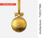 xmas balls gold color.... | Shutterstock .eps vector #718517584
