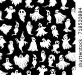 halloween ghost seamless... | Shutterstock .eps vector #718520884