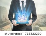 business man use laptop  and... | Shutterstock . vector #718523230