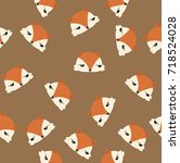 head foxes pattern | Shutterstock .eps vector #718524028