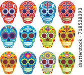 holy death  day of the dead ... | Shutterstock .eps vector #718528393