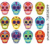 holy death  day of the dead ... | Shutterstock .eps vector #718528399
