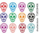 holy death  day of the dead ... | Shutterstock .eps vector #718528408