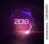 happy new 2018 year. vector... | Shutterstock .eps vector #718530493