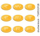 set of coins symbols of... | Shutterstock .eps vector #718531918
