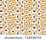 halloween seamless pattern... | Shutterstock .eps vector #718538743