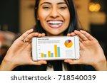happy smiling indian woman... | Shutterstock . vector #718540039