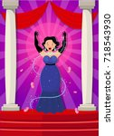 the woman is singing on stage... | Shutterstock .eps vector #718543930