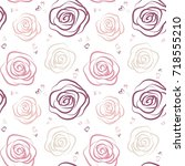 seamless pattern with pink and... | Shutterstock .eps vector #718555210