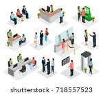 isometric people in bank... | Shutterstock .eps vector #718557523