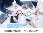 iot  automation  industry 4.0.... | Shutterstock . vector #718558924