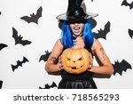 image of emotional amazing... | Shutterstock . vector #718565293