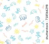 hand drawn seamless pattern... | Shutterstock . vector #718566298