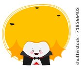 cute tooth  vampire with wings  ... | Shutterstock .eps vector #718566403
