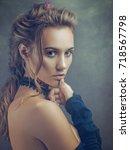beauty blondie  retro styled...   Shutterstock . vector #718567798