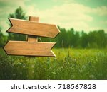 beauty summer meadow. rural...   Shutterstock . vector #718567828