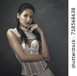 sensuality. beauty brunette ...   Shutterstock . vector #718568638