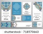 vector set of greeting cards or ...   Shutterstock .eps vector #718570663