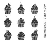 set of icons cupcakes. made in... | Shutterstock .eps vector #718571299
