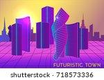 vector futuristic urban... | Shutterstock .eps vector #718573336