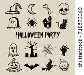 halloween party day vector... | Shutterstock .eps vector #718573360