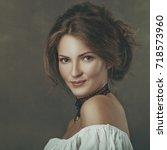 grungy female portrait. retro... | Shutterstock . vector #718573960