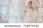 old metallic background with... | Shutterstock . vector #718574533