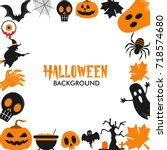 halloween background wallpaper... | Shutterstock .eps vector #718574680