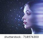 instant teleport. fantastic... | Shutterstock . vector #718576303