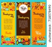 thanksgiving vertical flyers....   Shutterstock .eps vector #718578490