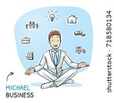 happy young business man... | Shutterstock .eps vector #718580134