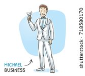 happy young business man in a... | Shutterstock .eps vector #718580170