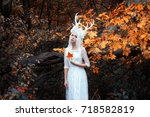 beautiful mystery gothic woman... | Shutterstock . vector #718582819