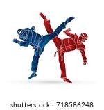 taekwondo fighting designed... | Shutterstock .eps vector #718586248