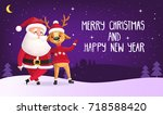 merry christmas and happy new... | Shutterstock .eps vector #718588420