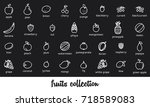 fruits collection. healthy... | Shutterstock .eps vector #718589083